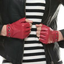 Custom Made Women lady Driving Fashion leather lampskin fingerless gloves