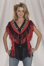 Womens Leather Motorcycle Vest With Fringe, Bones, Beads & Studs Red or Purple
