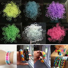 GLOW IN THE DARK 620 Multicolor Tie Dye Rainbow Loom Rubber Bands 24 Clips