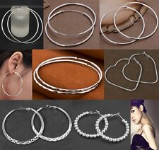 Women Fashion Solid Silver Pattern Round Circle Hoop Lady Jewelry Silver Earring