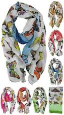 Lady Fashion Butterfly Printed Scarf Shawl Cotton Soft Scarf Neck Long Scarves