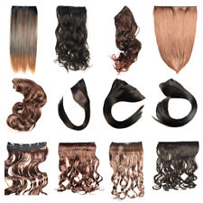"17/23"" Curly Straight Full head clip in Synthetic hair extensions"