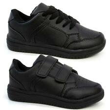 BOYS BLACK SCHOOL SHOES NEW KIDS GIRLS VELCRO SKATE TRAINERS BACK TO SCHOOL SIZE