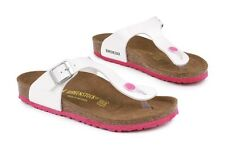 Birkenstock Gizeh Kinder 345083 New Ps Youth Kids White Leather Sandals Shoes
