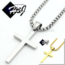 "18-32""MEN Stainless Steel 3mm Silver Smooth Box Chain Necklace Cross Pendant*SP"
