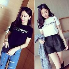 Women Summer Street Good Texture Wild letters Cotton Short-sleeved T-shirt STGG