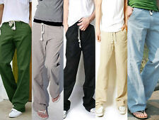 Men's Trousers Linen Pants Long Loose Bucket Big Straight Casual Pants