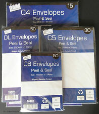 C6 C5 C4 SELF SEAL PLAIN WHITE ENVELOPES  peel a4 a5 a6 ref.a119