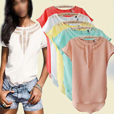 Sexy Hollow Sheer Chiffon Batwing Dolman Sleeve Tops T-Shirt Blouse Candy Color