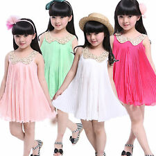 K5K Girl Kids Baby Sequin Lapel Pleated Skirt Chiffon Party Dress Clothes Outfit