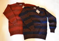 RRP £65. Mens Scottish wool Chunky Rugby-Stripe Jumper Sweater. Blue Rust