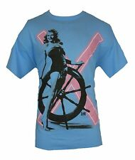 Flashback Mens T-Shirt - Pin Up Girl In Front of Ship's Wheel Blue