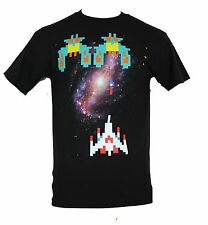 Galaga Mens T-Shirt - Giant Pixelated Ships and Enemys over Galaxy Pic
