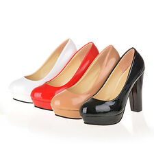 Womens Chunky Office Lady Platform Round Toe High Heels Pumps Work Shoes