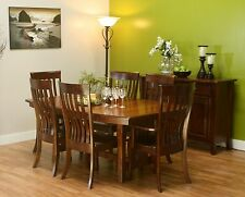 Amish Mission Trestle Dining Table Set Boat Top Rectangle Solid Wood Furniture