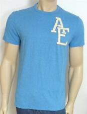 American Eagle Outfitters AEO Tee Mens Blue Double Logo T-Shirt New NWT