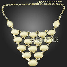 GOLDEN CHAIN MULTI ROW LAYER OVAL BUBBLES RESIN PENDANT BIB STATEMENT NECKLACE