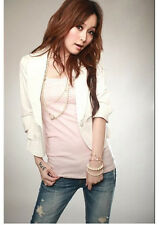 Sales Star One Button Womens Suit Coat Short Slim Blazer Jacket Stylish White