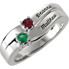 Personalized MOTHERS JEWELRY Custom Sterling Silver Ring w/ 1-4 Birthstones