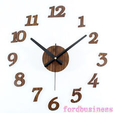 Retro Wooden DIY Wall Clock 3D Stickers Home Decor Art Clocks Modern Design