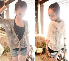Womens Fashion Lace Hoodie Hollow Thin Cardigan Coat 2 Colors R809