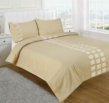 DOUBLE DUVET SET MOCHA CREAM STYLISH QUILT COVER WITH 2 TWO PILLOWCASES BED