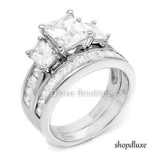 4.95 CT EMERALD CUT CZ .925 STERLING SILVER WEDDING RING SET WOMEN'S SIZE 4-11