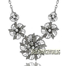 VINTAGE RETRO RHINESTONE FLOWER PENDANT BIB NECKLACE JEWELRY GOLDEN/SILVER CHAIN