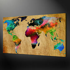 ABSTRACT MAP OF THE WORLD CANVAS WALL ART PICTURES PRINTS FREE FAST UK DELIVERY