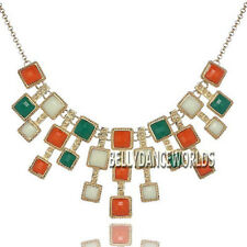 GOLDEN CHAIN SQUARE RESIN BEADS DANGLE PENDANT BIB NECKLACE FASHION JEWELRY GIFT
