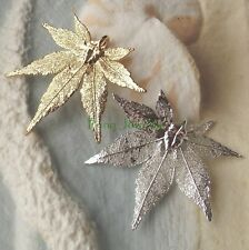 Real Japanese Maple Leaf Pendant Necklace in Sterling Silver Dip or Gold Dipped