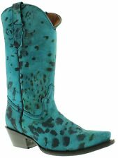 womens ladies cheetah leopard western cowboy cowgirl boots snip new blue leather