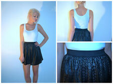 PRIMARK Black Faux Leather Skater Skirt  Sizes UK 10,12,14,16