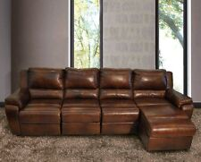 Full Leather Sofa - Modern Living Room Sectional - Electric Recliner and Chaise
