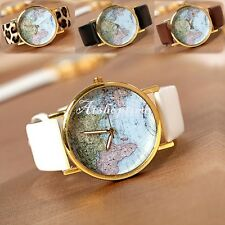 Womens Vintage World Map Globe Fashion Leather Alloy Analog Quartz watches atst