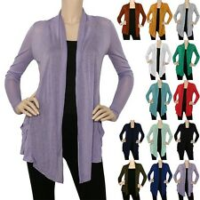 IRON PUPPY Thin Open Draped Knit Cardigan Shawl Collar Irregular Hem Top (S~3XL)