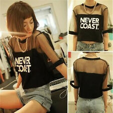 NEW Letters Print Short Sleeve See-through Mesh Short Cropped Top Blouse T Shirt