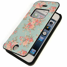 NEW Womens Cute MINT-Rose Flower Floral Window View Leather Flip Skin Cover Case