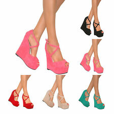 WOMENS CHUNKY HIGH WEDGE HEEL PLATFORM PEEP TOE ANKLE STRAP SHOES SANDALS SIZE