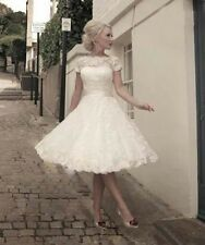 New lace Knee Length Ball Gown Wedding Dress Short Prom Evening Dress Size 6-16