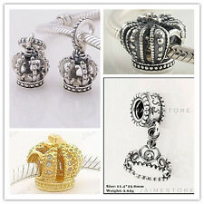 925 Sterling Silver Crown Bead Series fit European Charm Bracelets