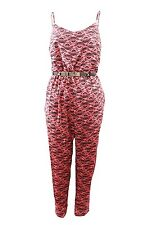 Ladies Women Aztec Print Strappy Jumpsuit Pink Black With Belt Summer Style 8-14