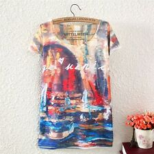 Vintage Summer Womens Short Sleeve Oil Painting Graphic T Shirt Tee Blouse Tops