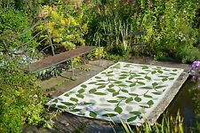 Floral -Recycled Plastic- Indoor/Outdoor Rug: Bali Forest Green & Cream
