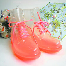 Womens Transparent Crystal Candy Color Flat Rain Boot Lace-up Martin Boots P159
