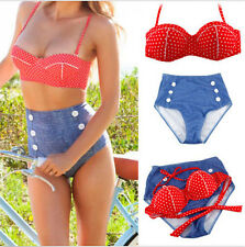 Sexy Cute Retro High Waist Vintage Push Up Bandeau Bikini Swimsuit Swimwear Set