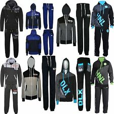 New Mens Plain Printed jogging suit Tracksuit Hooded Bottoms Top Fleece S M L XL