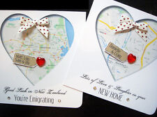 handmade personalised' New home / Emigrating' MAP cards