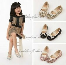 NEW Girls Baby Toddler Princess Bowknot Sequin Dress Flats Mary Jane Shoes 3-12Y