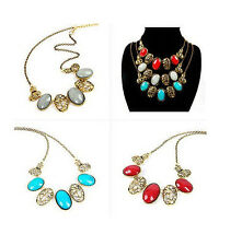 Retro Gold Hollow Out Flower Resin Oval Gemstone Choker Bib Necklace Choker P60